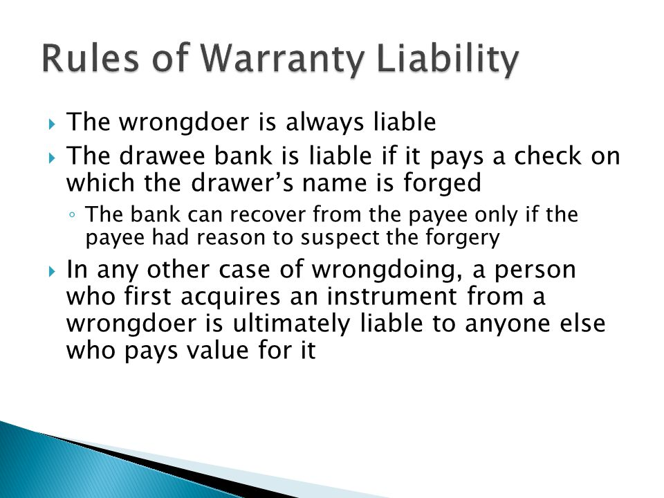 Rules of Warranty Liability