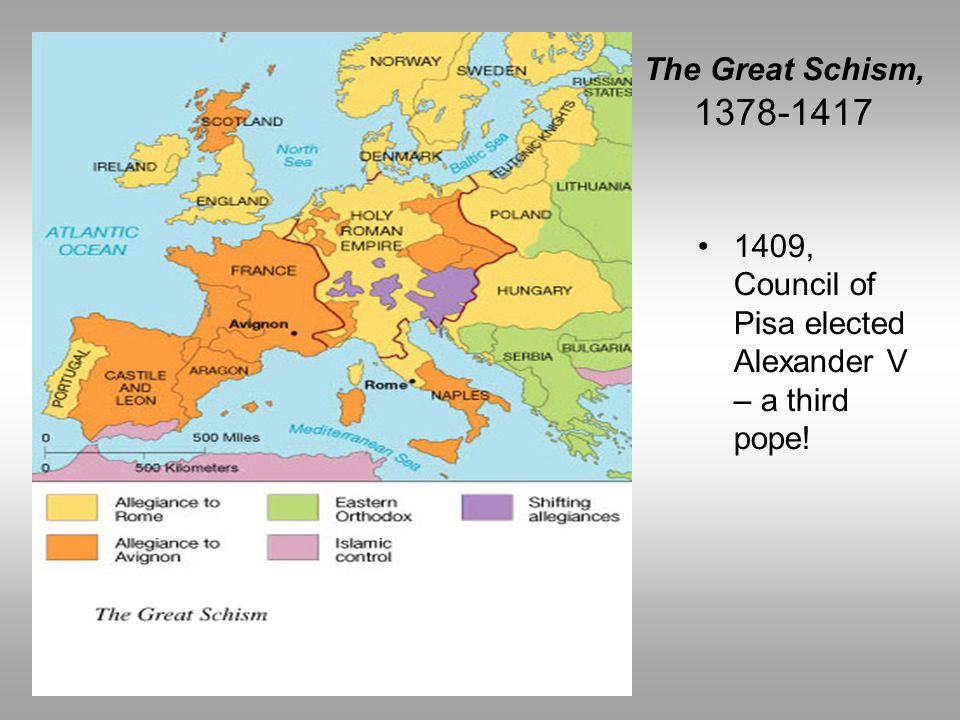 1409, Council of Pisa elected Alexander V – a third pope!