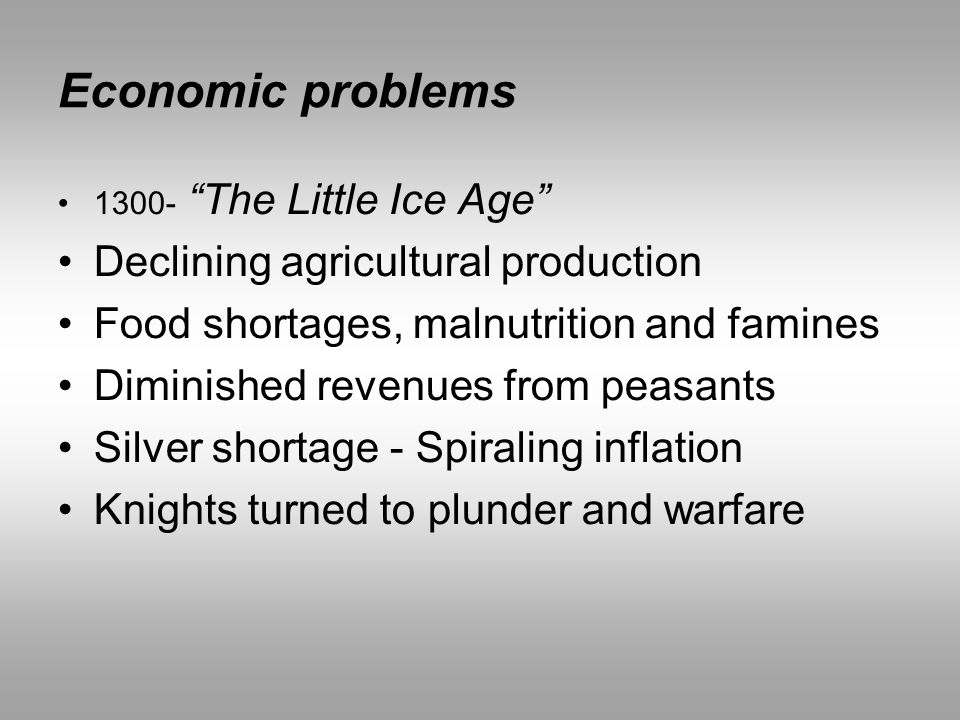 Economic problems Declining agricultural production