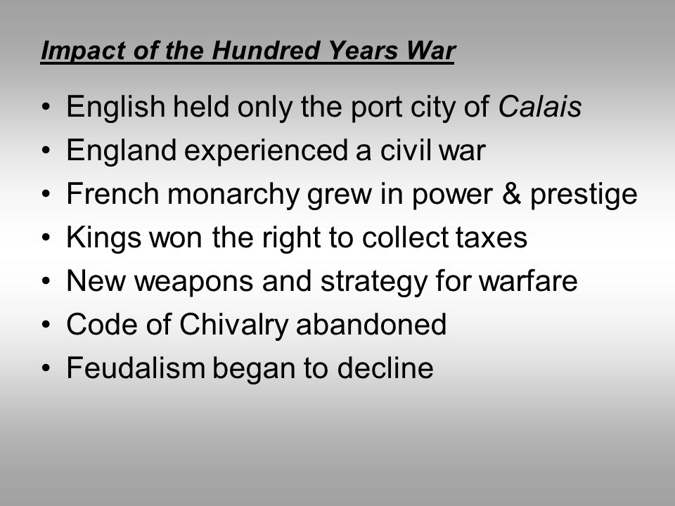 Impact of the Hundred Years War