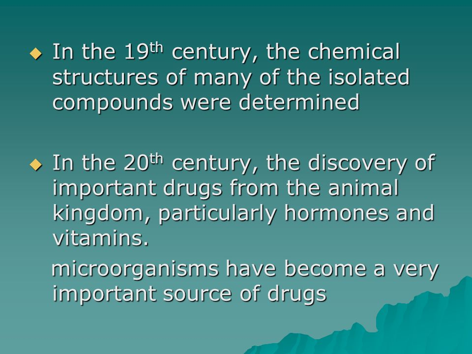In the 19th century, the chemical structures of many of the isolated compounds were determined