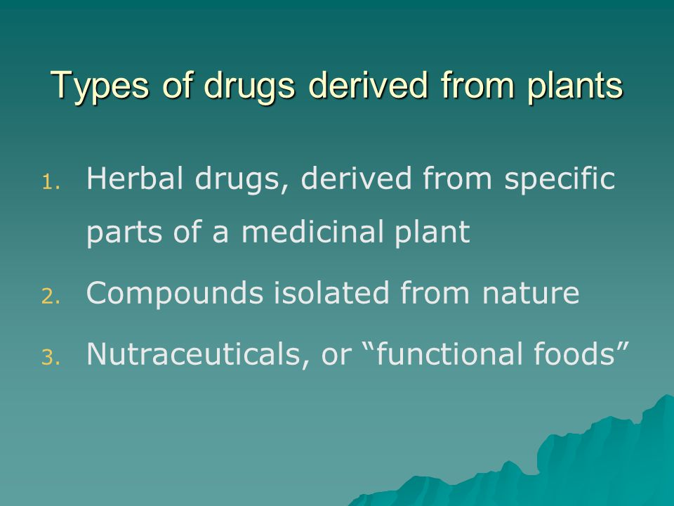 Types of drugs derived from plants