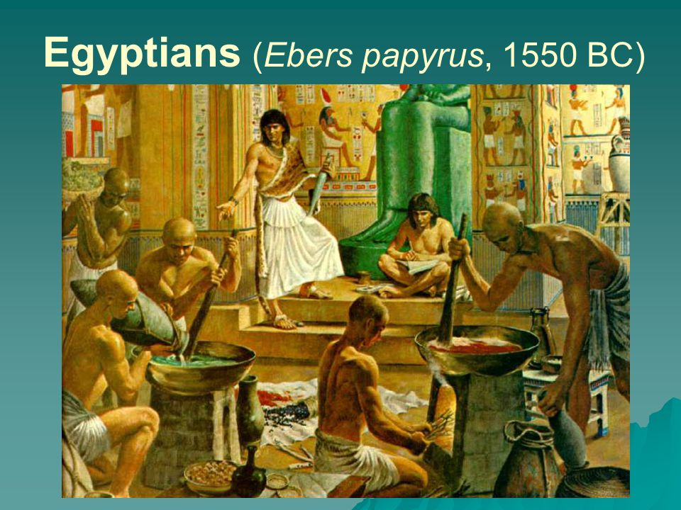 Egyptians (Ebers papyrus, 1550 BC)