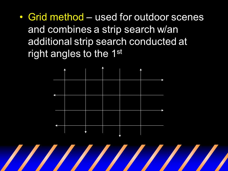 Grid method – used for outdoor scenes and combines a strip search w/an additional strip search conducted at right angles to the 1st