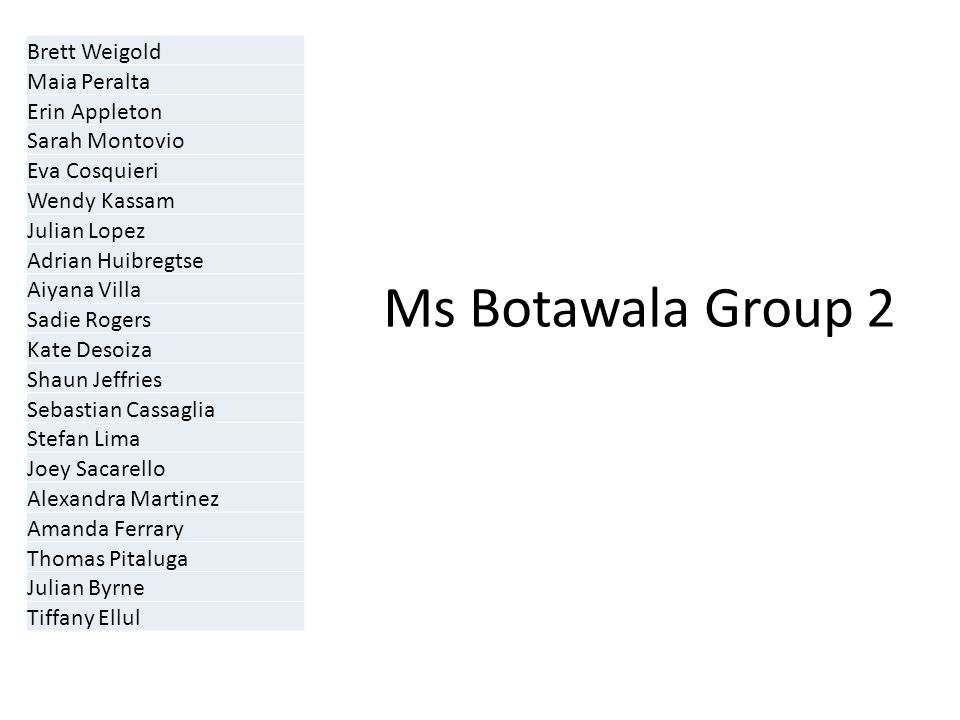 Ms Botawala Group 2 Brett Weigold Maia Peralta Erin Appleton