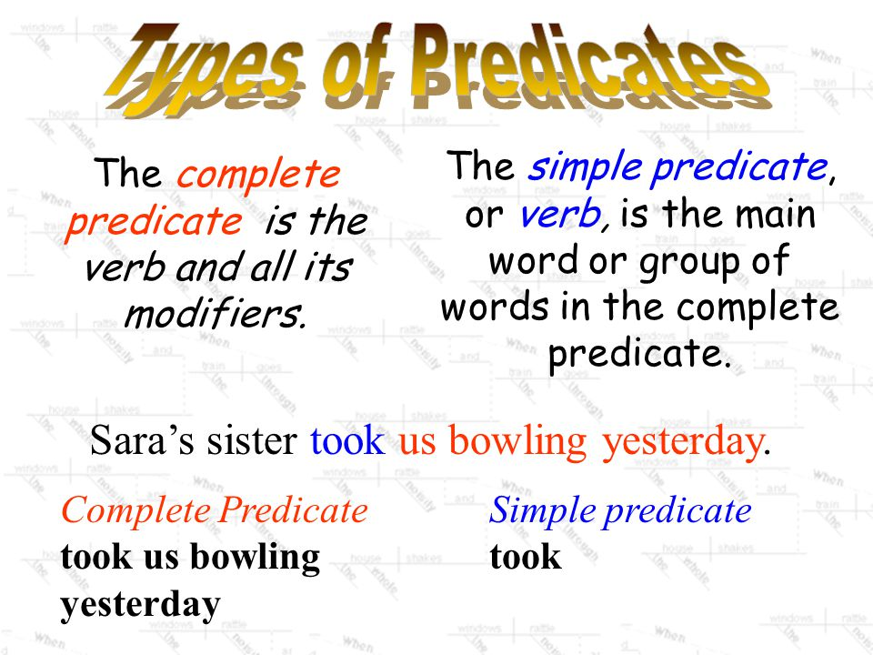The complete predicate is the verb and all its modifiers.