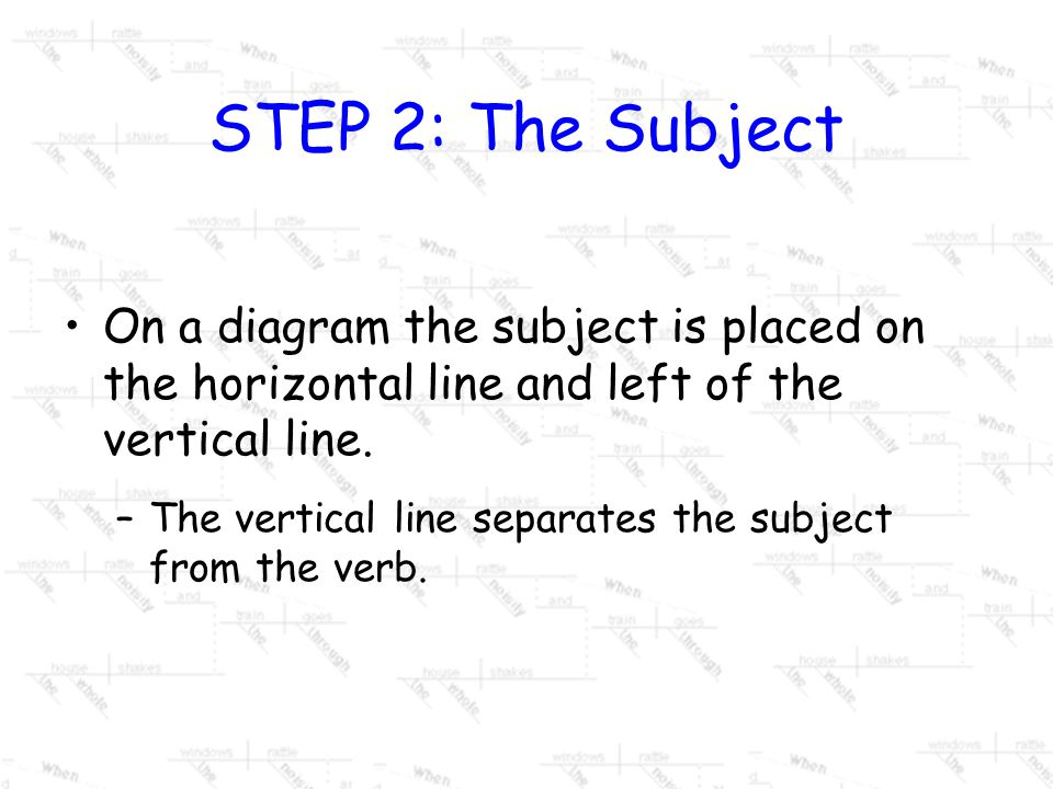 STEP 2: The Subject On a diagram the subject is placed on the horizontal line and left of the vertical line.