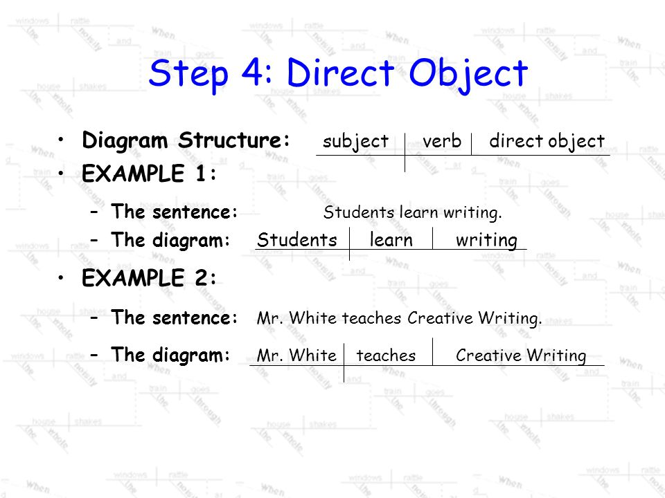 Step 4: Direct Object Diagram Structure: subject verb direct object