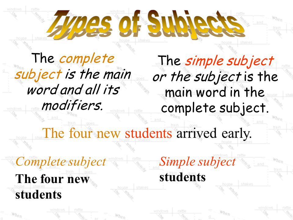 The complete subject is the main word and all its modifiers.
