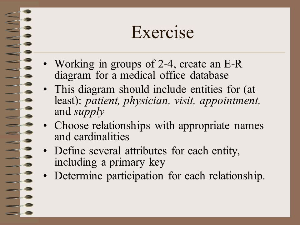 Exercise Working in groups of 2-4, create an E-R diagram for a medical office database.