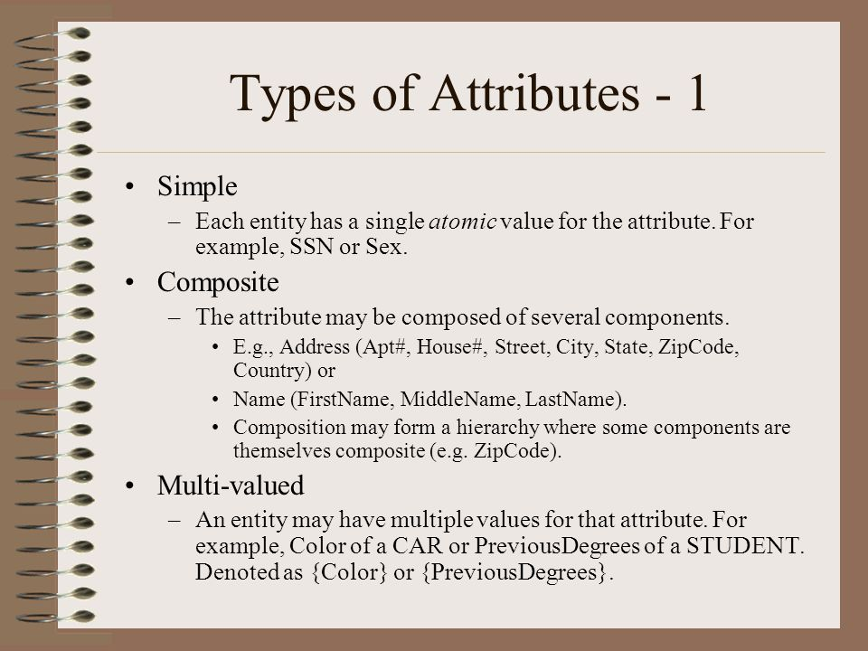 Types of Attributes - 1 Simple Composite Multi-valued