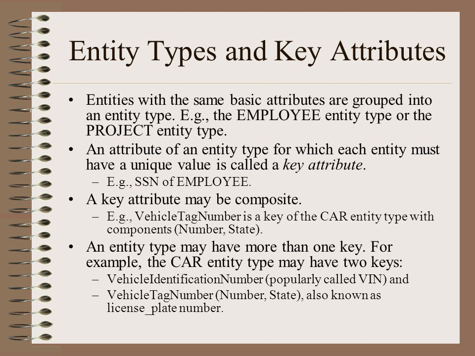 Entity Types and Key Attributes