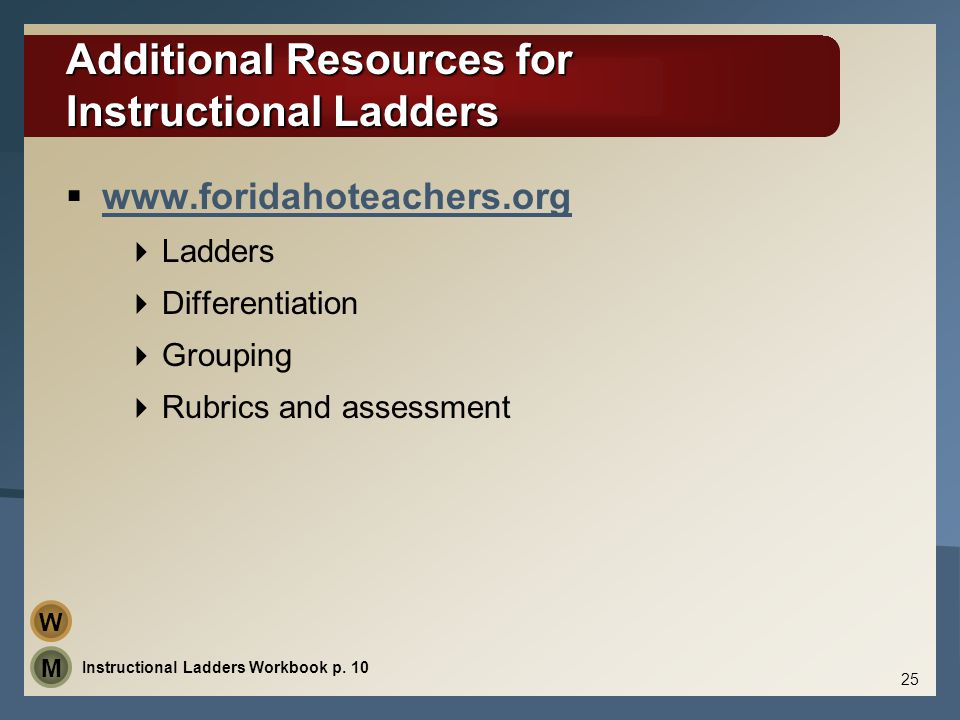 Additional Resources for Instructional Ladders