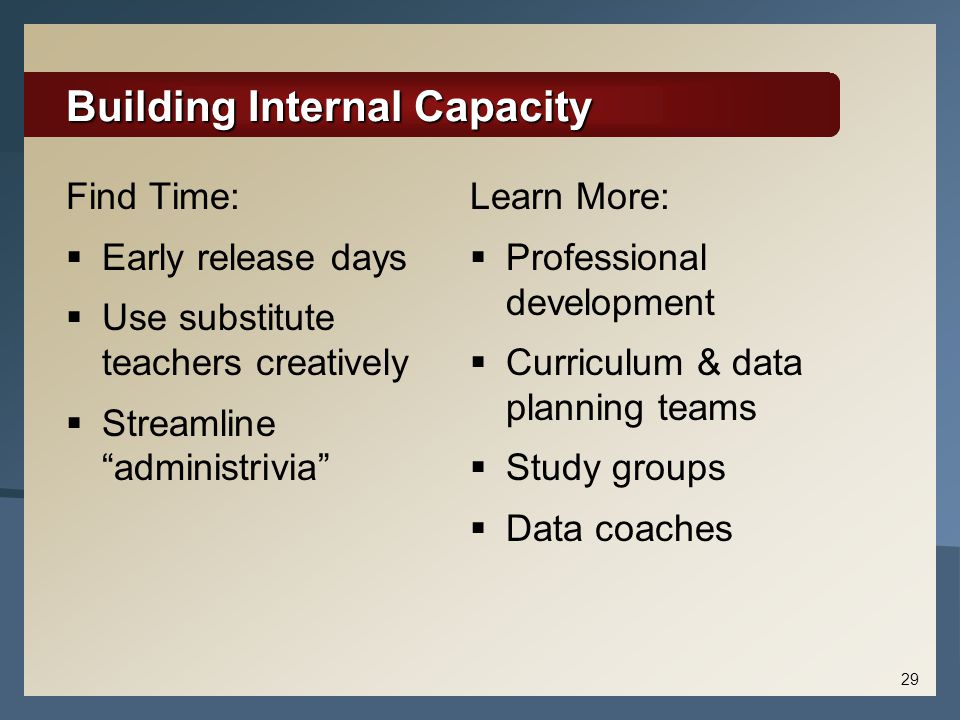 Building Internal Capacity