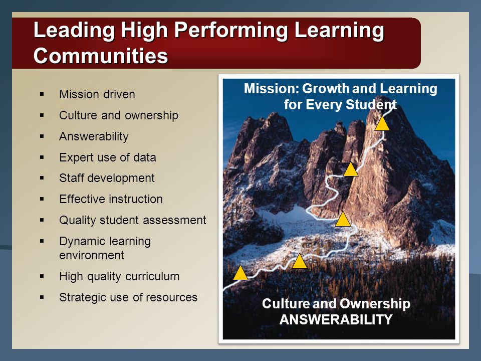Leading High Performing Learning Communities