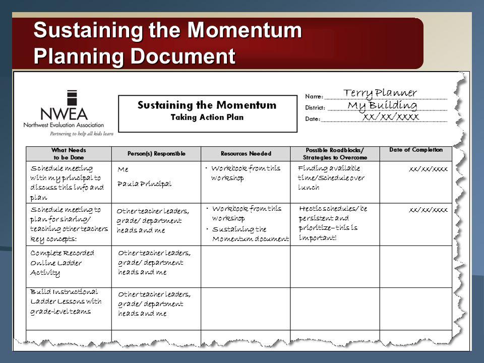 Sustaining the Momentum Planning Document