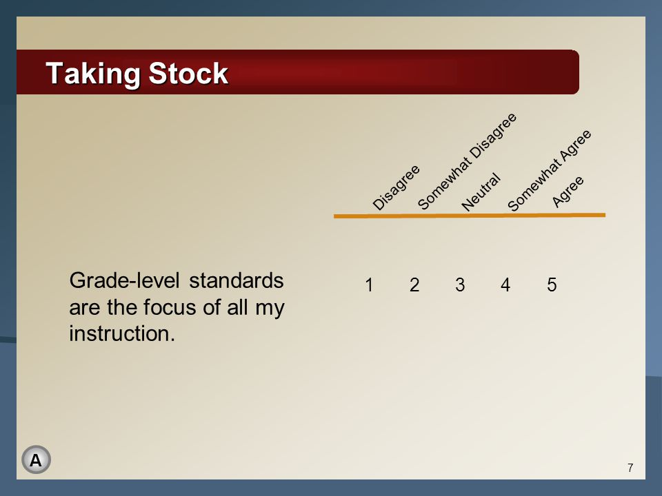 Taking Stock Disagree. Somewhat Disagree. Neutral. Somewhat Agree. Agree. Materials: None. Reports: None.