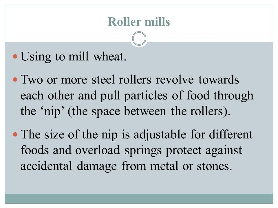 Roller mills Using to mill wheat.
