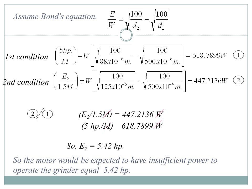 Assume Bond s equation. 1st condition 2nd condition