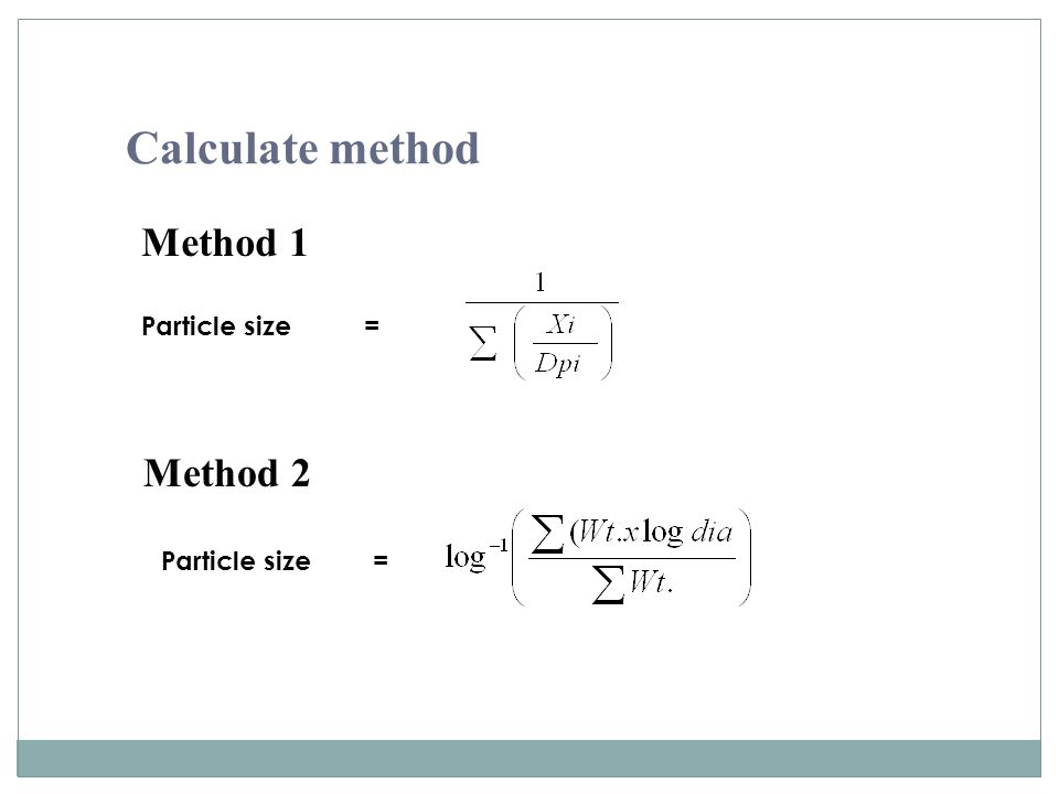 Calculate method Method 1 Particle size = Method 2 Particle size =