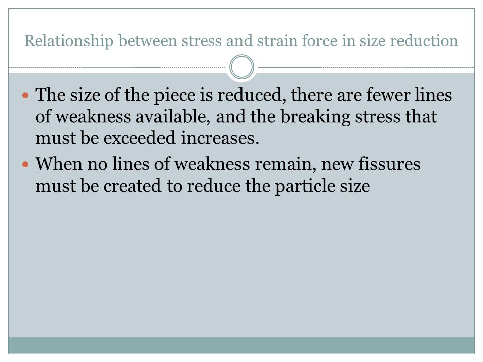 Relationship between stress and strain force in size reduction