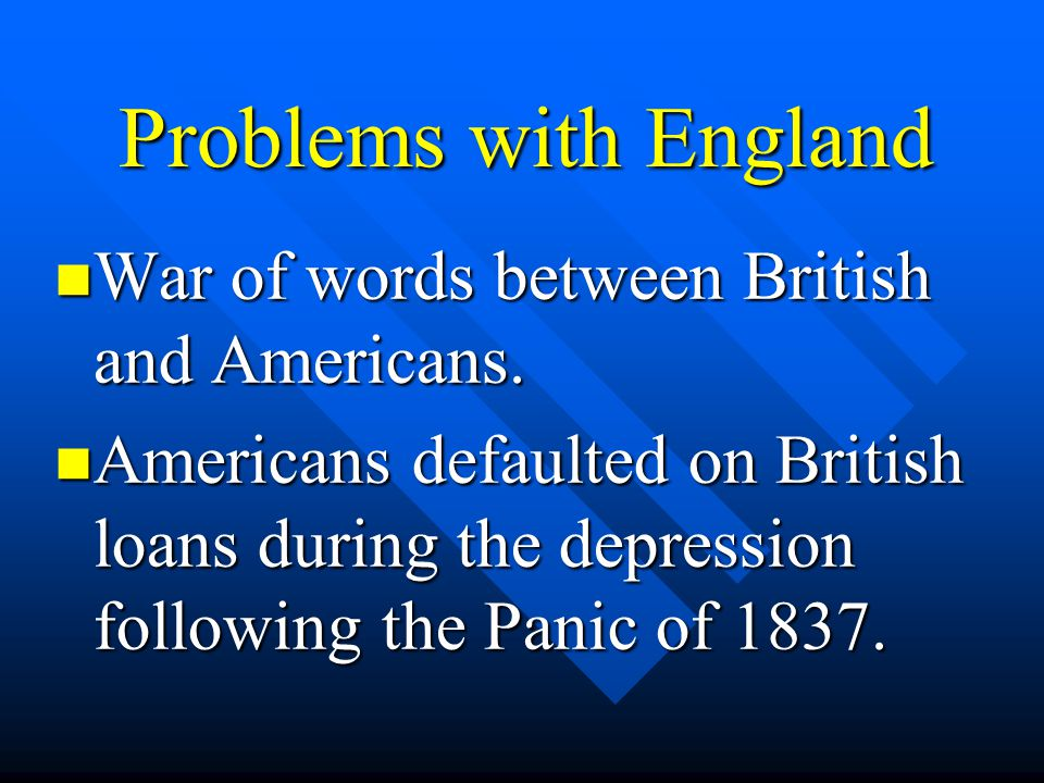 Problems with England War of words between British and Americans.
