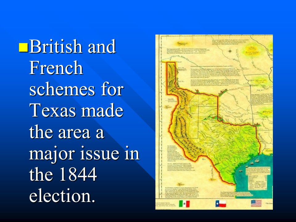 British and French schemes for Texas made the area a major issue in the 1844 election.