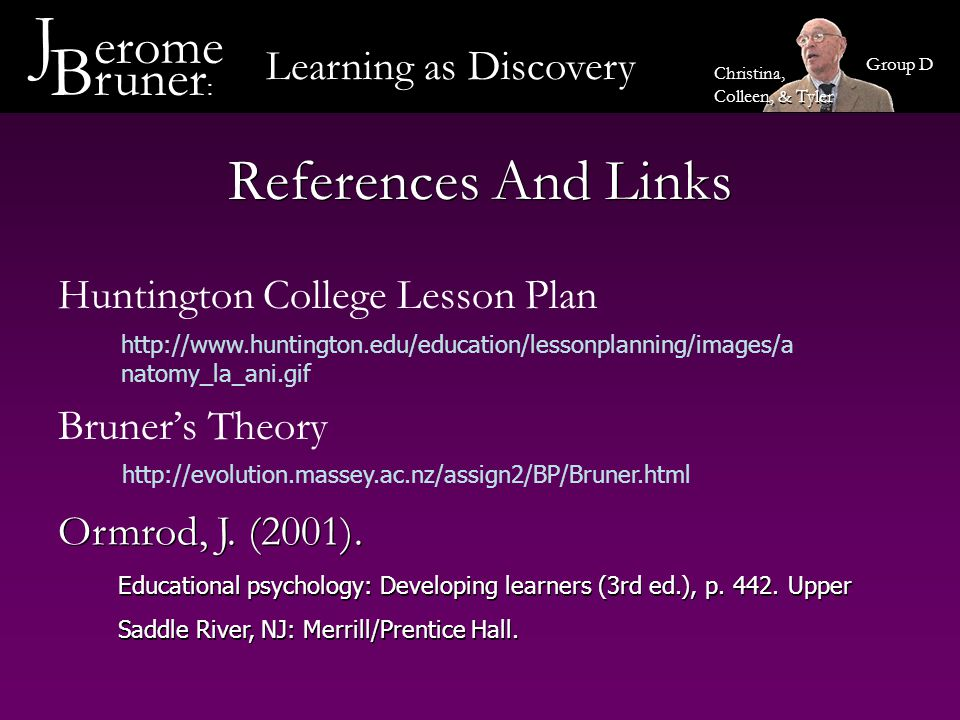 J erome Bruner: References And Links Learning as Discovery