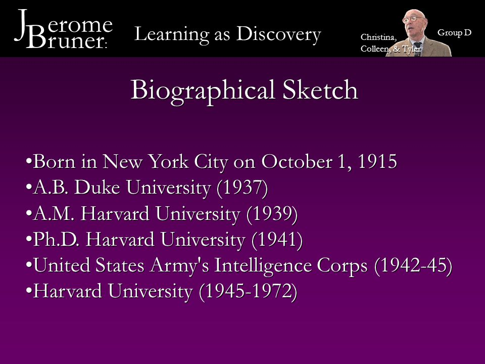 J erome Bruner: Biographical Sketch Learning as Discovery