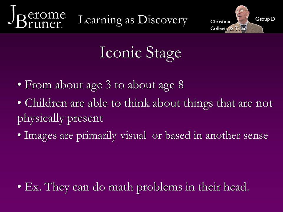 J erome Bruner: Iconic Stage Learning as Discovery