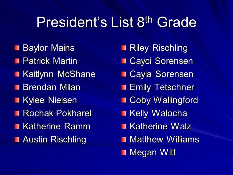 President's List 8th Grade