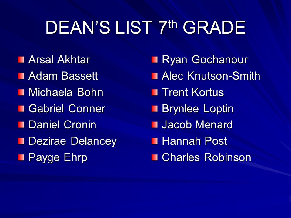 DEAN'S LIST 7th GRADE Arsal Akhtar Adam Bassett Michaela Bohn