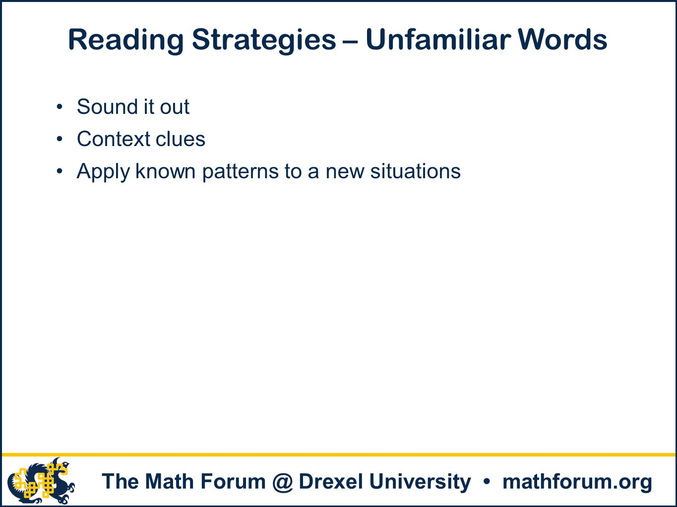 Reading Strategies – Unfamiliar Words