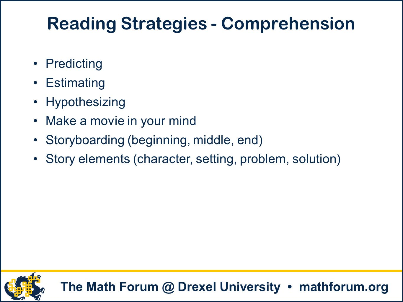 Reading Strategies - Comprehension