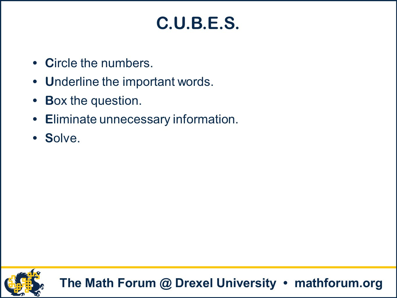 C.U.B.E.S. Circle the numbers. Underline the important words.