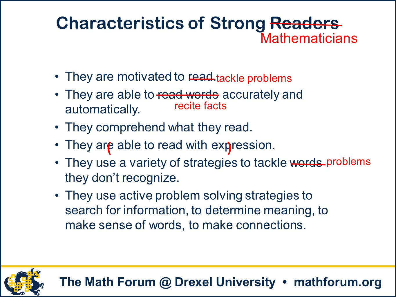 Characteristics of Strong Readers