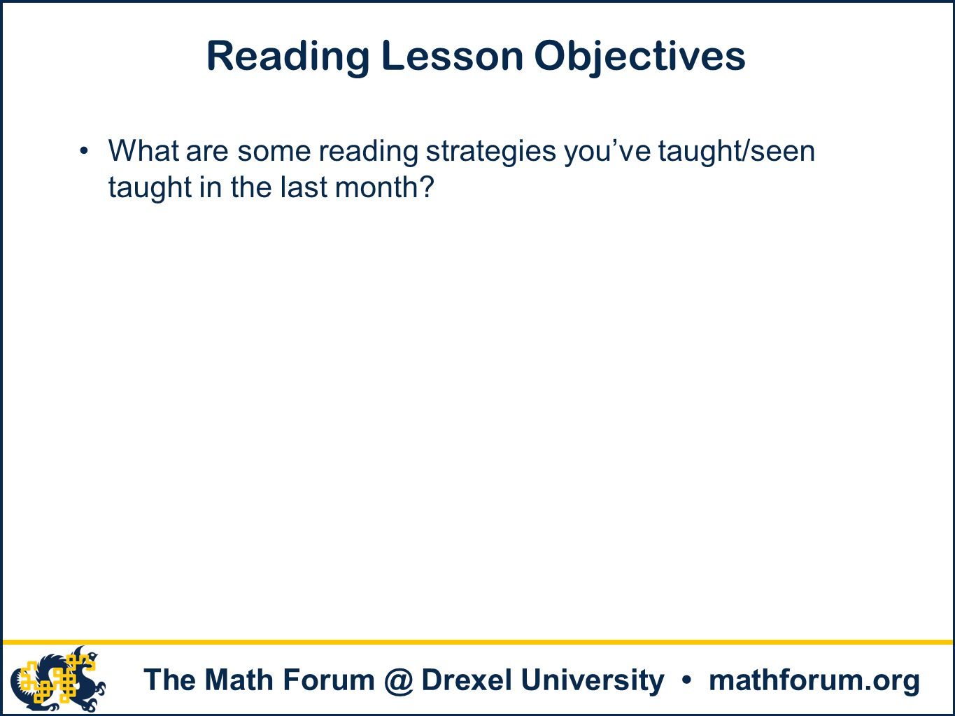 Reading Lesson Objectives