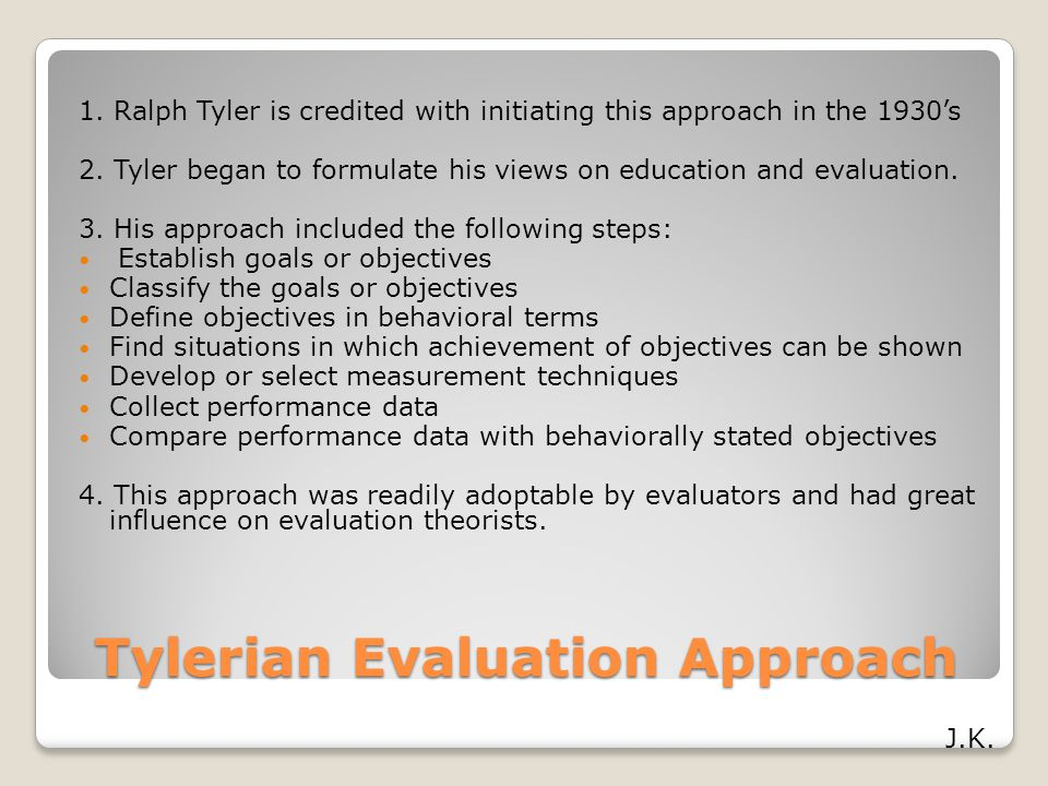 Tylerian Evaluation Approach