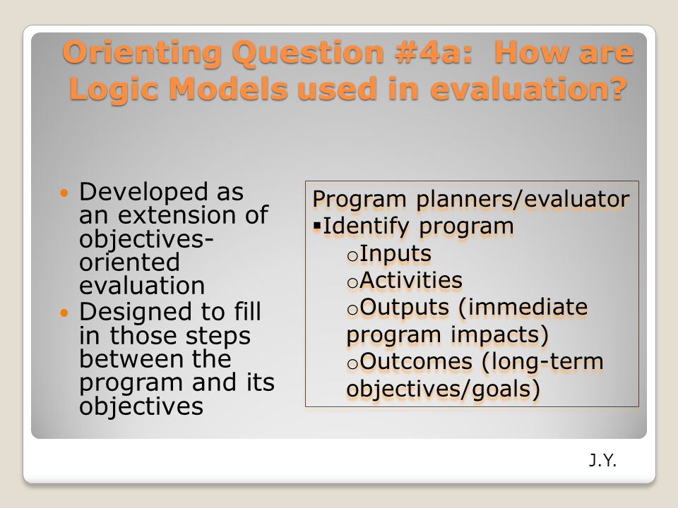 Orienting Question #4a: How are Logic Models used in evaluation