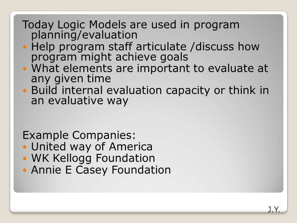 Today Logic Models are used in program planning/evaluation