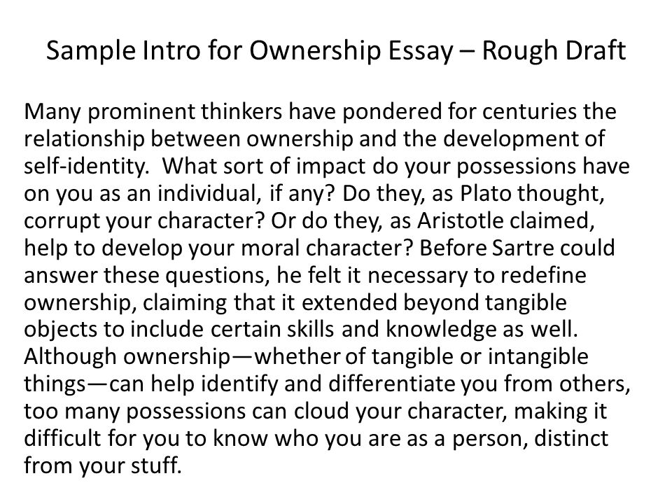 sample intro for ownership essay rough draft example of a rough draft essay - Essay Draft Example