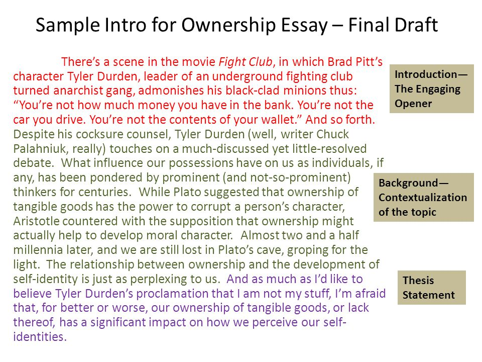 sample intro for ownership essay rough draft ppt video online sample intro for ownership essay final draft