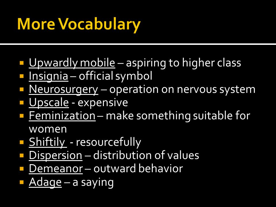 More Vocabulary Upwardly mobile – aspiring to higher class