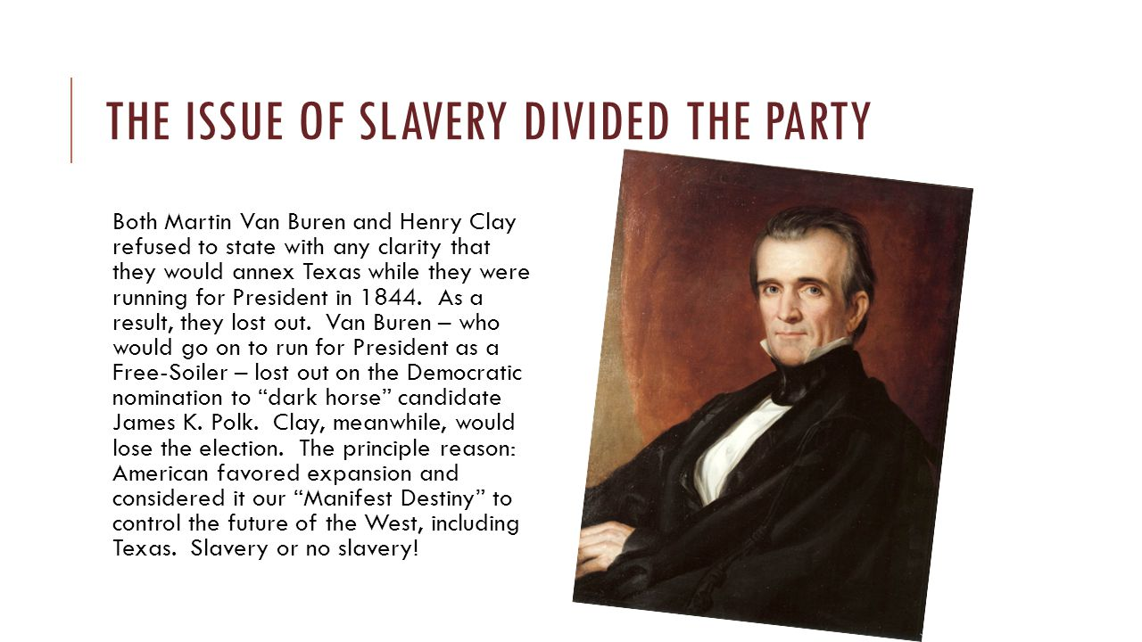 The issue of slavery divided the party