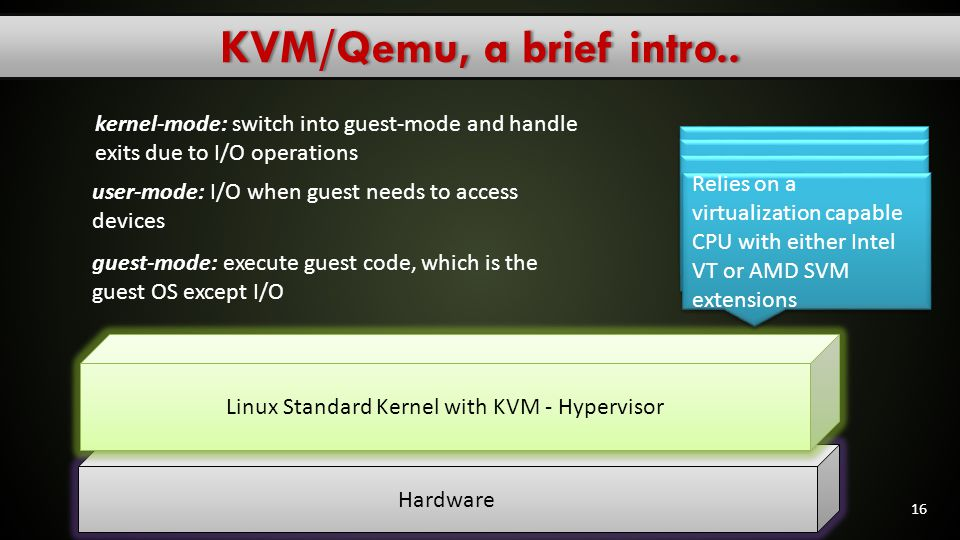 KVM/Qemu, a brief intro.. kernel-mode: switch into guest-mode and handle exits due to I/O operations.