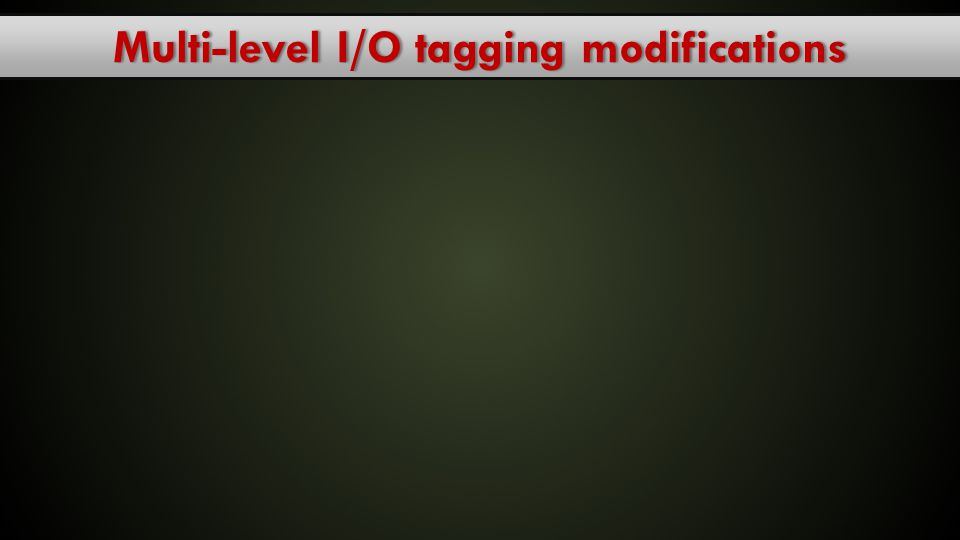Multi-level I/O tagging modifications