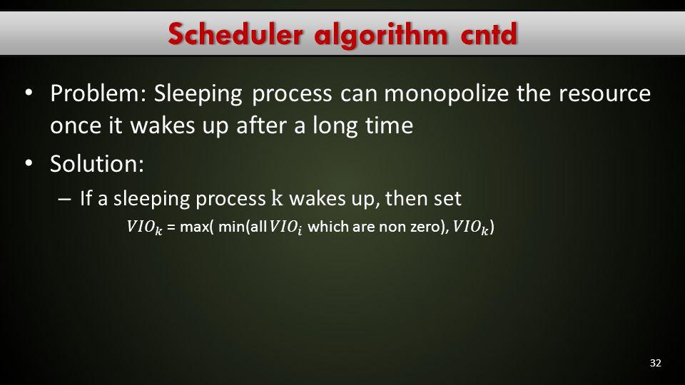 Scheduler algorithm cntd