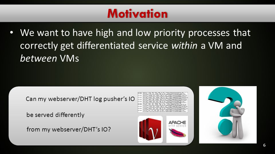 Motivation We want to have high and low priority processes that correctly get differentiated service within a VM and between VMs.