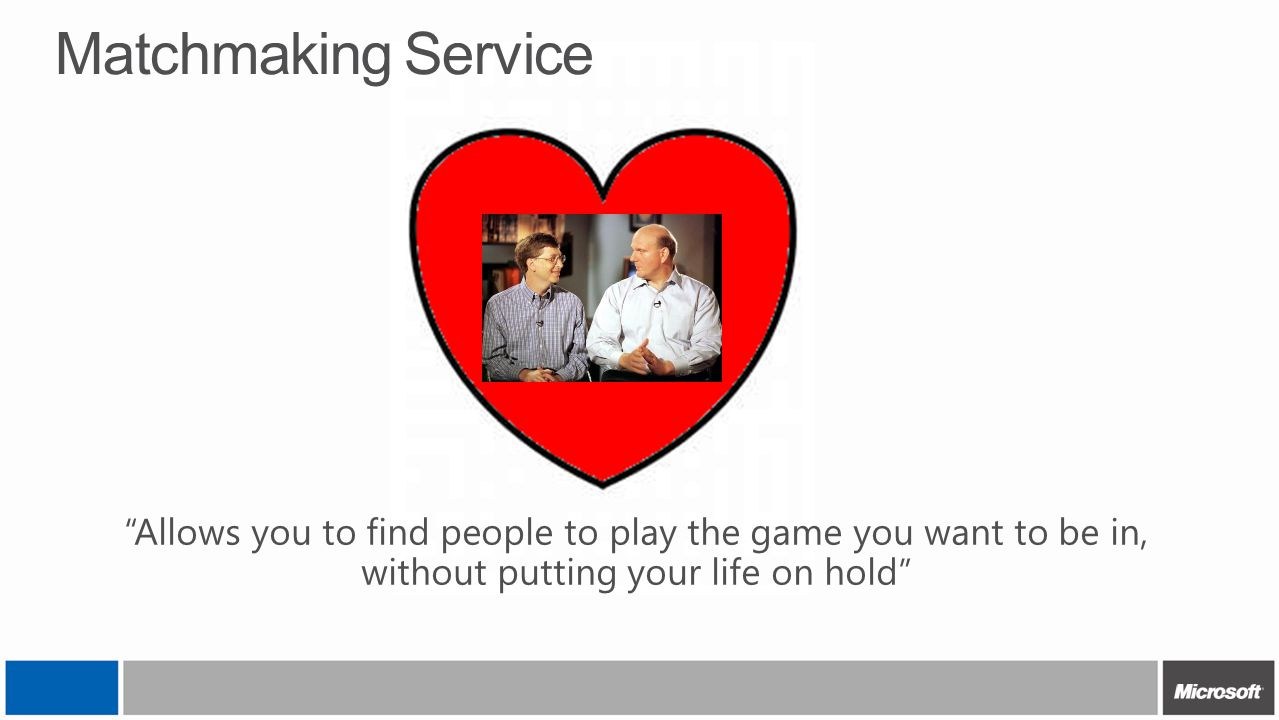 4/12/2017 3:16 AM Matchmaking Service. Allows you to find people to play the game you want to be in, without putting your life on hold