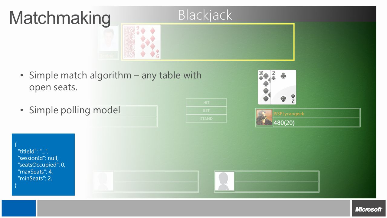 Matchmaking Simple match algorithm – any table with open seats.
